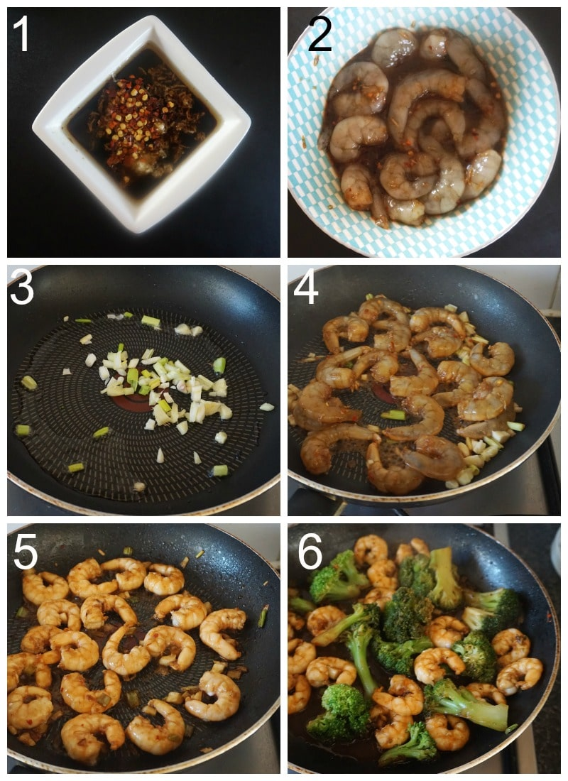 Collag eof 6 photos to show how to make shrimp with broccoli