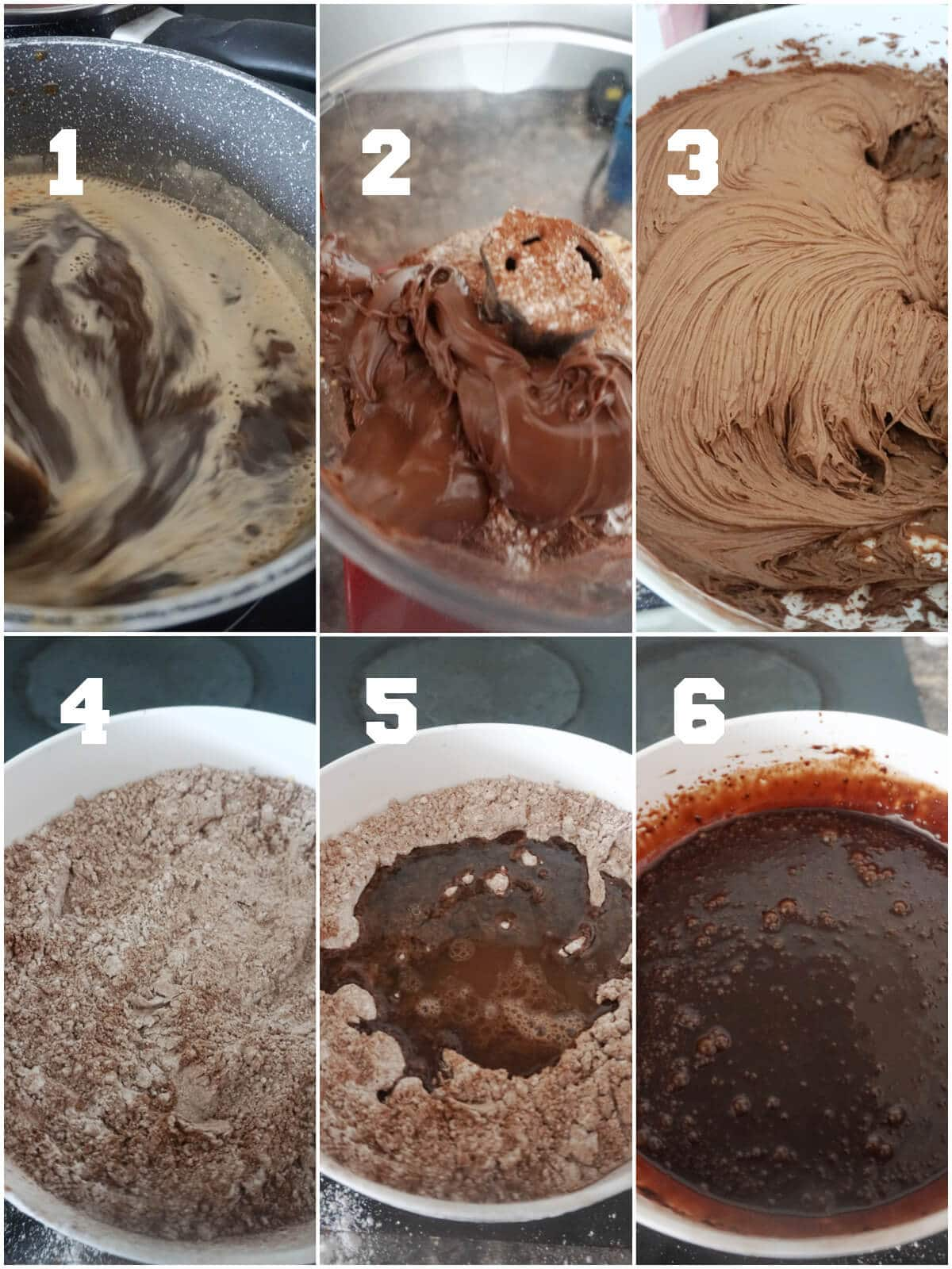 Collage of 6 photos to show how to make nutella filling and chocolate glaze
