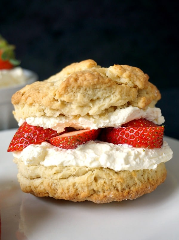 A shortcake filled with strawberries and cream