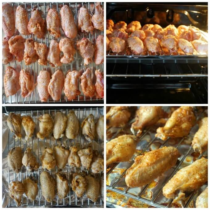 A collage of 4 photos showing show to make crispy baked chicken wings