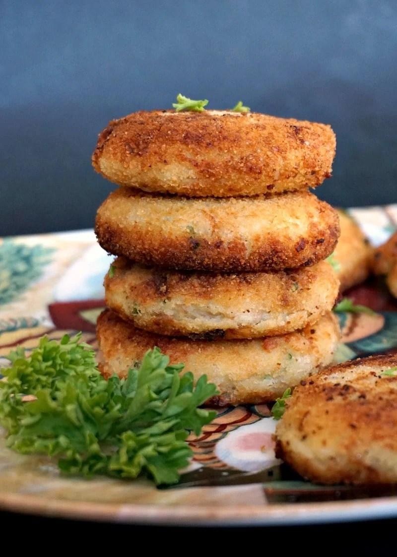 A stack of 4 tuna and potato patties