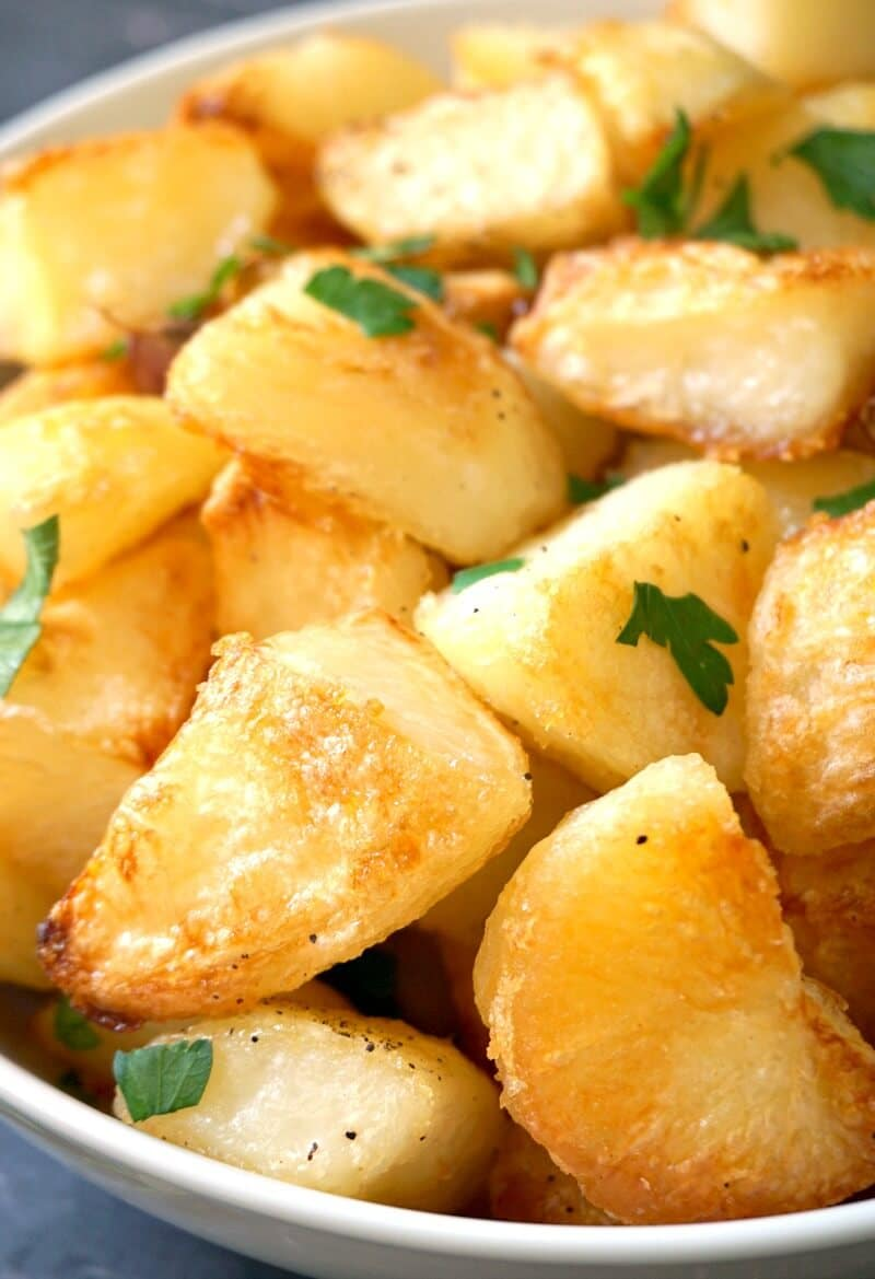 Close-up shoot of roast potatoes