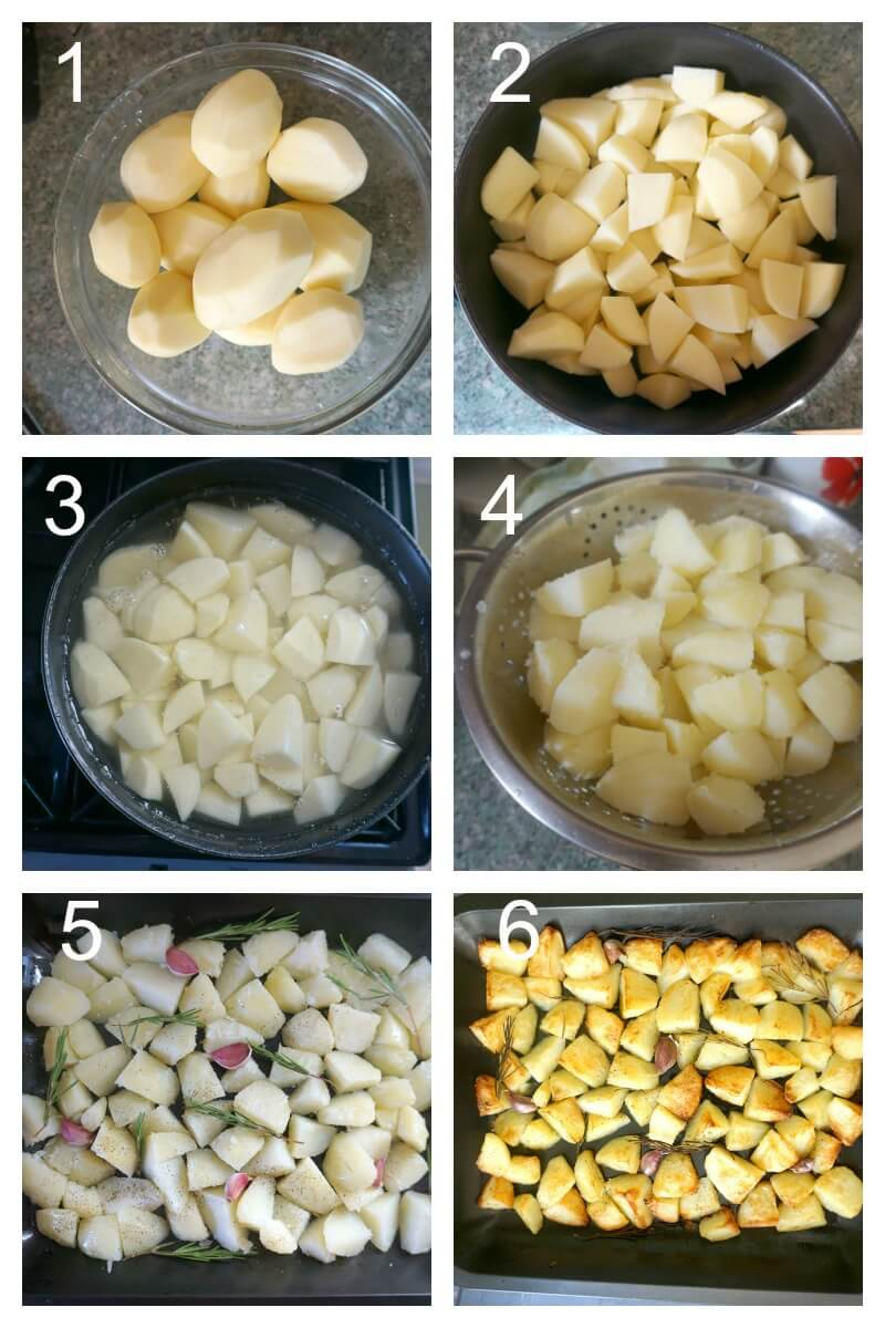 Collage of 6 photos to show how to make crispy roast potatoes