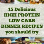Collage of food photos for high protein low carb dinner recipes