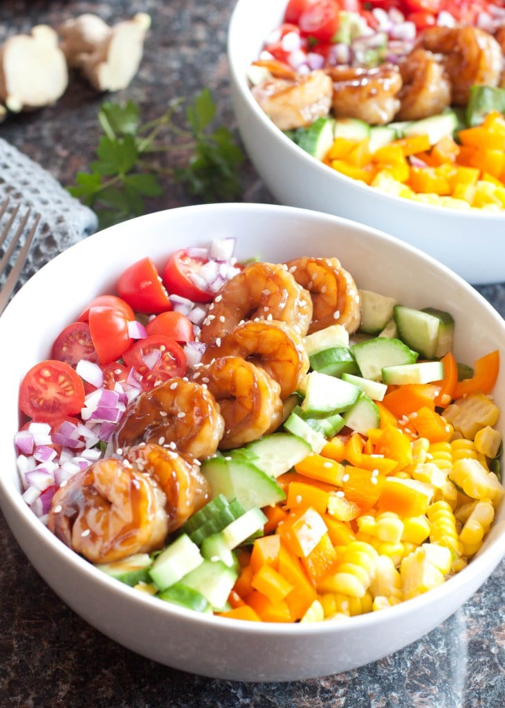 Teriyaki Shrimp Salad with Sesame Ginger Vinaigrette