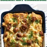 Sausage Egg Breakfast Casserole, a hearty dish that can be prepared the night before and refrigerated to save you time. Just pop in the oven in the morning, and a heavenly golden casserole will be cooking while you enjoy your cup of tea or coffee. A fantastic dish for your Christmas breakfast or brunch to start your day right. This breakfast casserole is made with a few simple ingredients: bread, sausages, eggs, milk and cheese, and seasoned to perfection. Comfort food at its best! #casserole