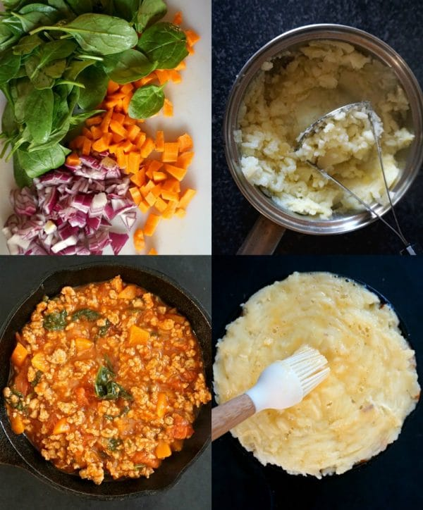Collage of 4 photos to show how to make cottage pie with ground turkey