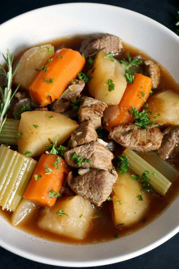 A white bowl of oven beef stew