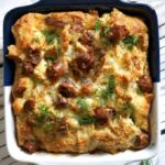 Overhead shoot of a dish with egg and sausage breakfast casserole