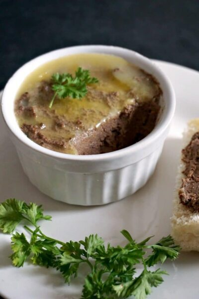 A shoot of a pot of homemade chicken liver pate