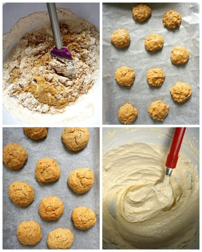 Collage of 4 photos to show how to make pumpkin whoopie pies