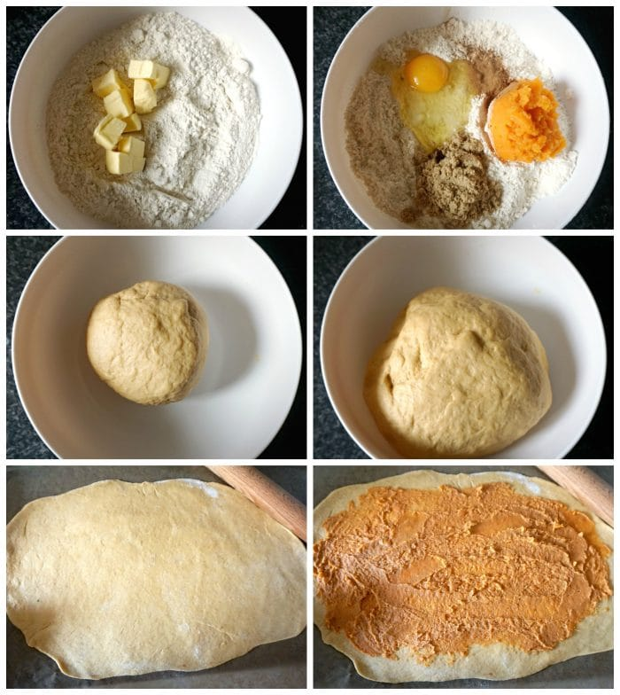 Collage of 6 photos to show how to make pumpkin cinnamon rolls