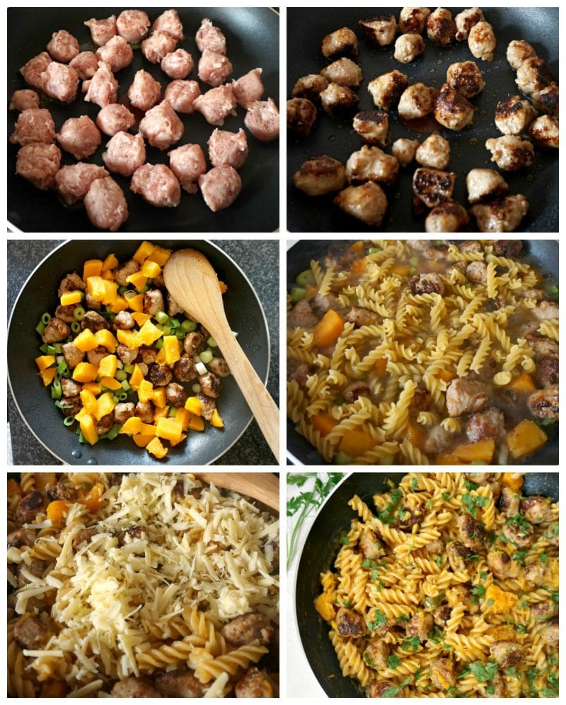 Collage of 6 photos to show how to make butternut squash sausage pasta