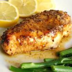 Oven Baked Honey Mustard Chicken Breast with a touch of lemon, an absolutely delicious, low-carb, high-protein, gluten-free and healthy meal for two. Serve it with broccoli spears or other veggies for a light and healthy dinner idea. If you are all about healthy food, this is a recipe for you. A great meal for two for Valentine's Day too, this honey mustard chicken is so easy to make, and full of flavours. #honeymustardchicken, #mealsfortwo, #valentinesdaymeals, #healthyfood, #chickendinner