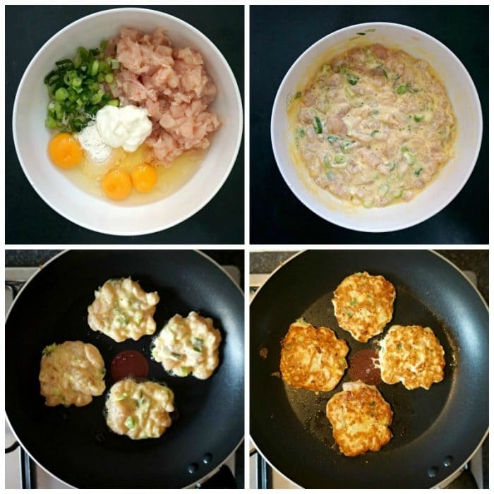 Collage of 4 photos to show how to make chicken fritters