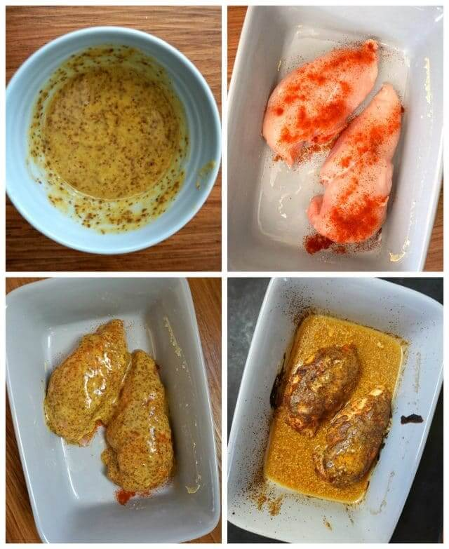 Collage of 4 photos to show how to make honey mustard chicken breast with lemon