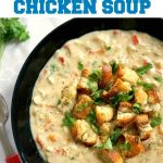 Homemade Cream of Chicken Soup, or comfort in a bowl of soup. Healthy, nutritious and delicious, ready in well under 30 minutes, this soup makes a lovely dinner anytime of the year. Beat comfort food ever, that even fussy eaters will love.