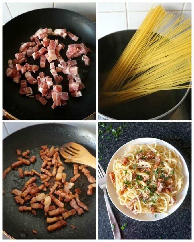 Collage of 4 photos to show how to make bacon carbonara pasta