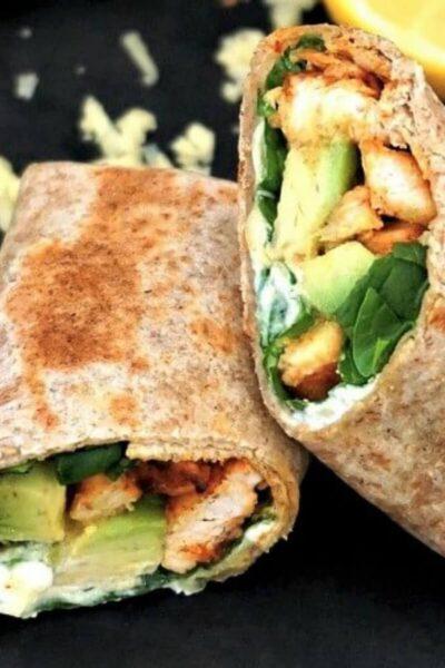 2 halves of chicken avocado wraps