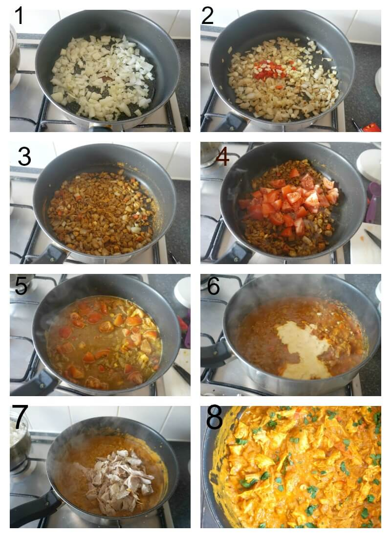 Collage of 8 photos to show how to make leftover chicken tikka masala