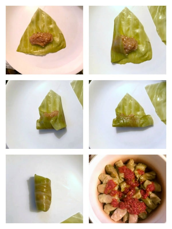 Collage of 6 photos to show how to make Easy Cabbage Rolls - Romanian Sarmale