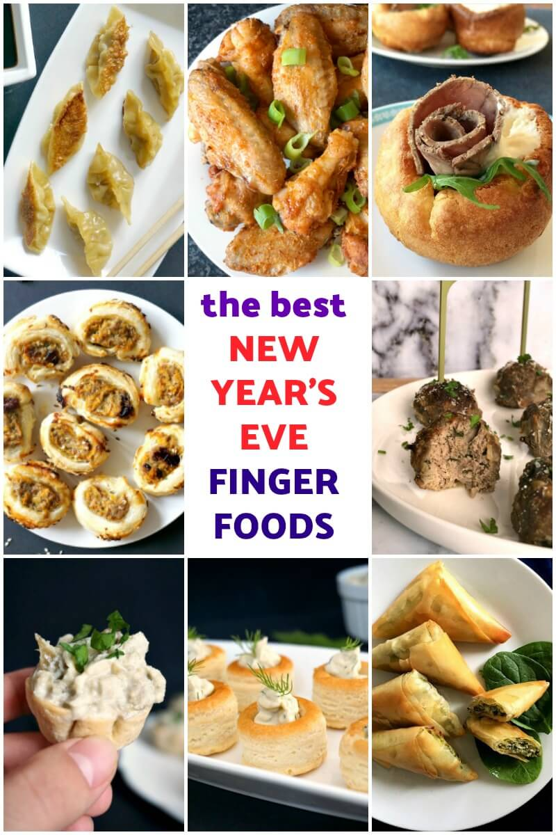 Collage of photos with New Year's Eve appetizers