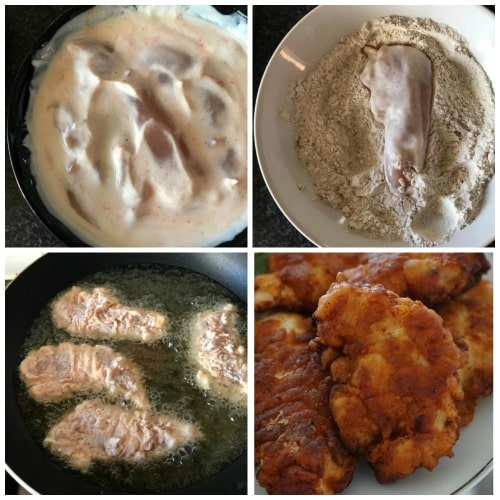 Collage of 4 photos to show step-by-step instructions how to make fried buttermilk chicken tenders
