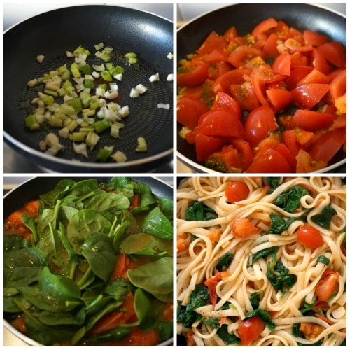 Collage of 4 photos to show how to make pasta with spinach and tomatoes