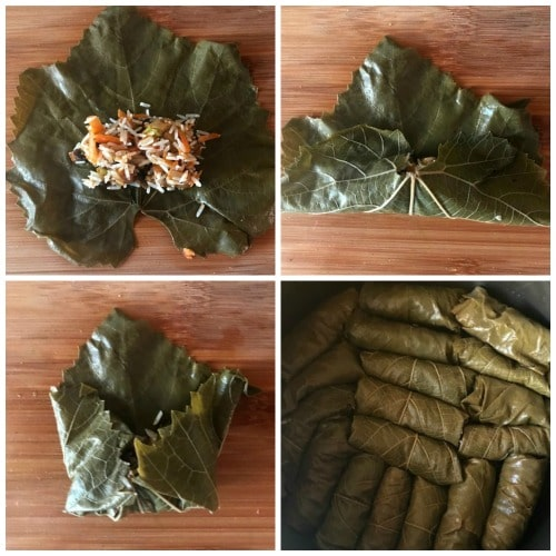 of 4 photos to show step-by-step instructions how to roll the grape leaves