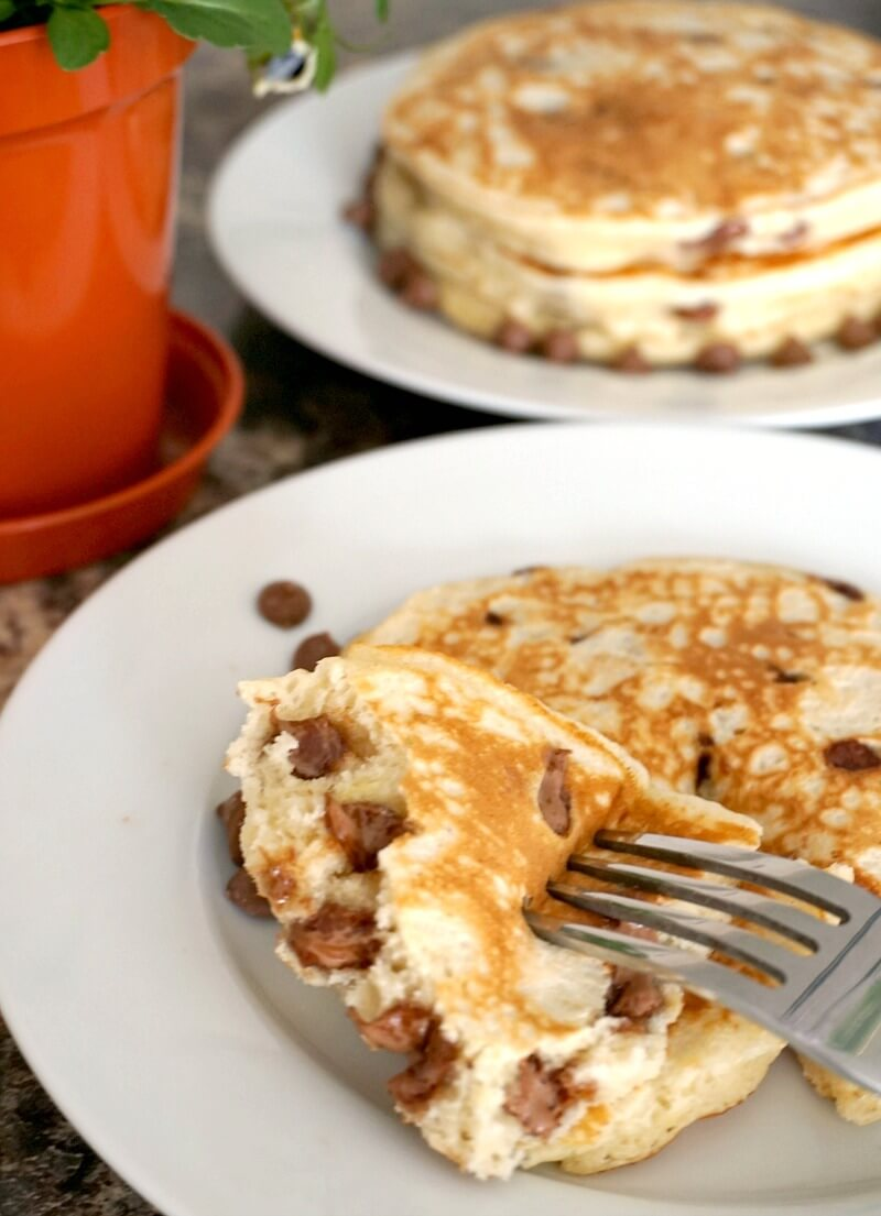 A white plate with a choc chip pancake and another half pancake with a fork
