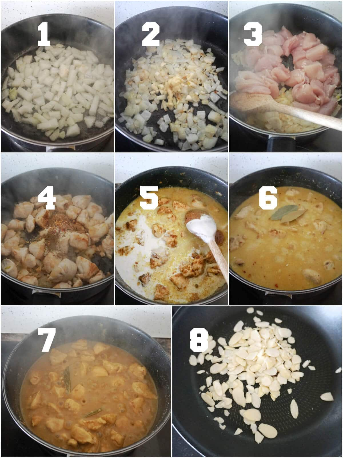 Collage of 8 photos to show how to make chicken korma curry