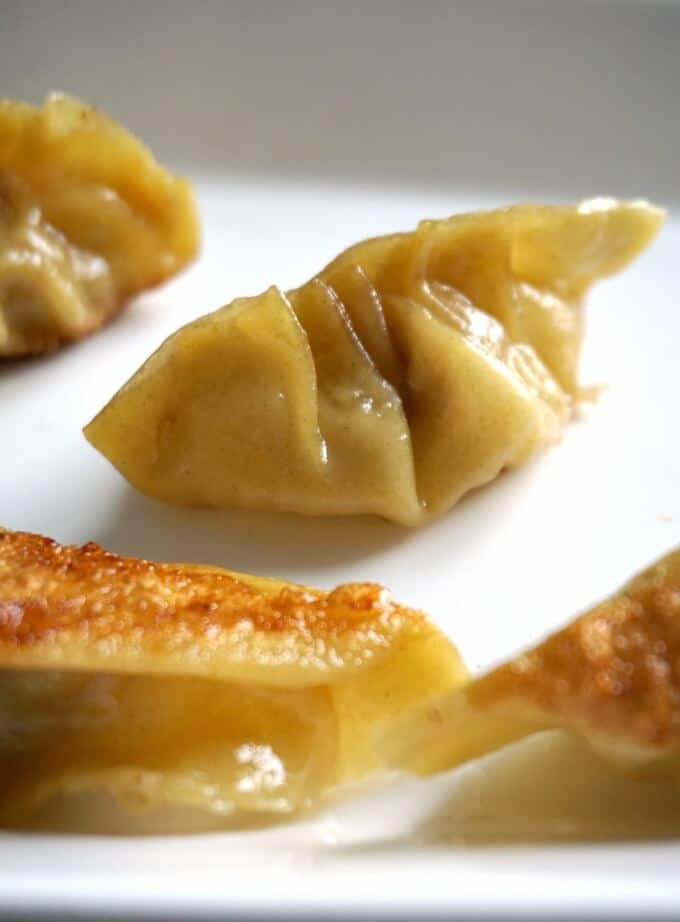 A close-up shot of a chinese pan-fried dumpling on a white platter