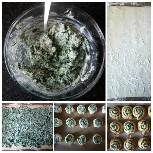 Collage of 4 photos to show how to make spinach pinwheels