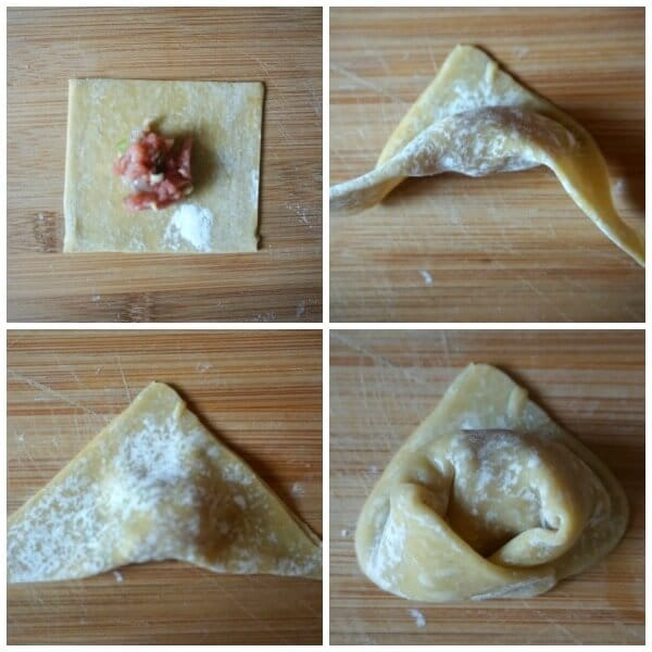 Collage of 4 photos to show how to make wontons for wonton soup recipe