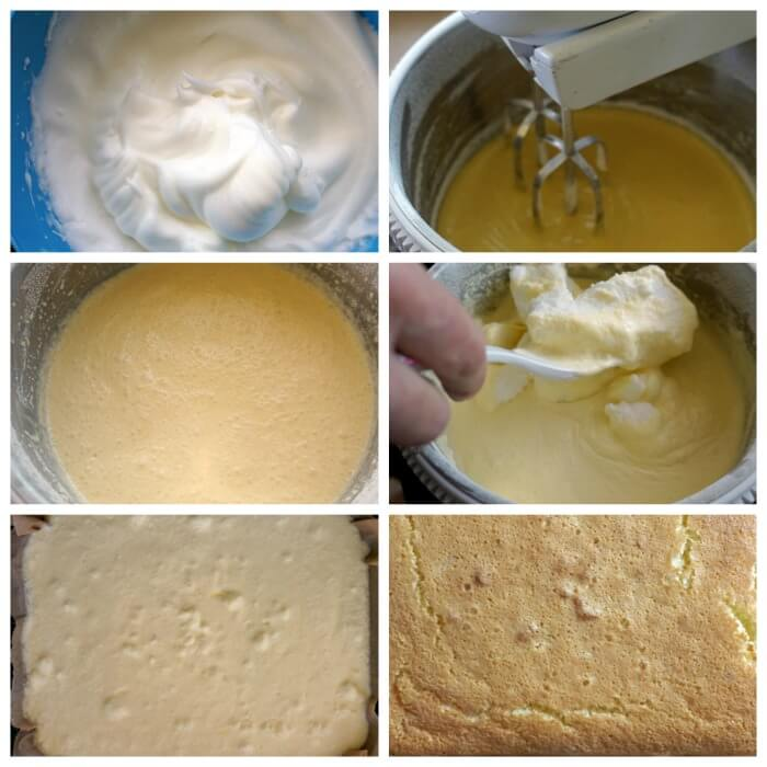 A collage of 6 photos to show step-by-step instructions on how to make a magic cake