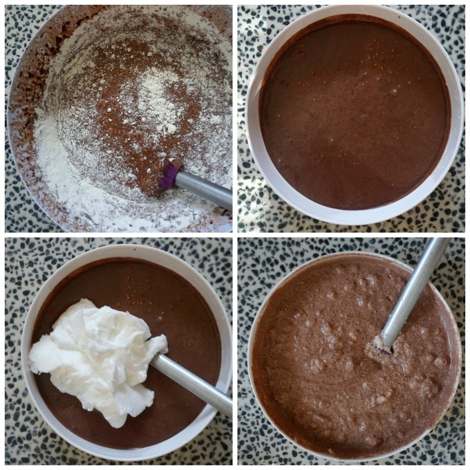Collage of 4 photos to show how to make chocolate magic cake