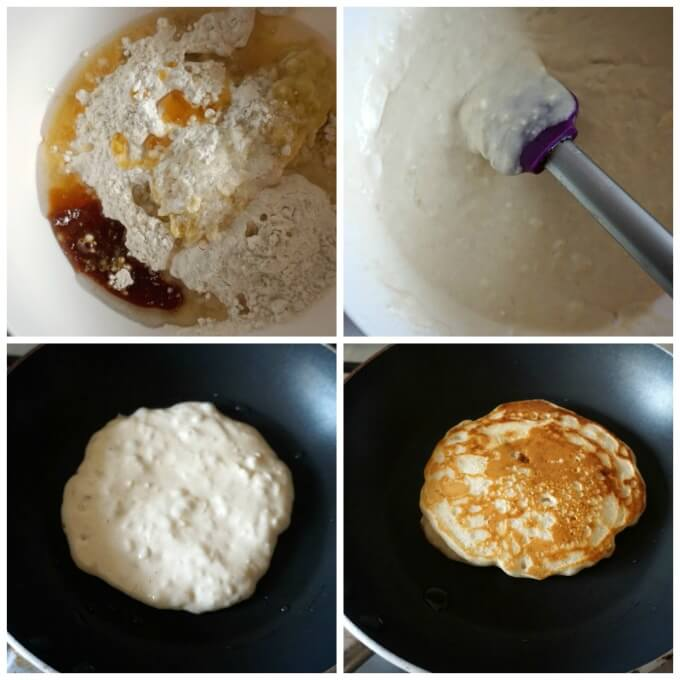 Collage of 4 photos to show how to make egg-free pancakes