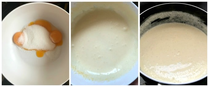 A collage of 3 photos to show how to make homemade cherry ice cream