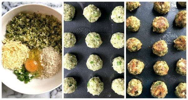 Collage of 3 photos to show how to make baked broccoli bites