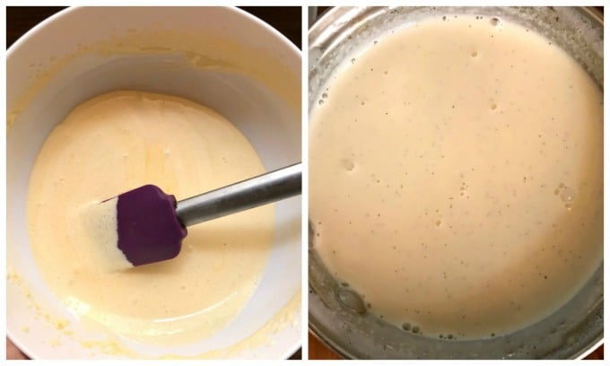 Collage of 2 photos to show how to make homemade vanilla ice cream