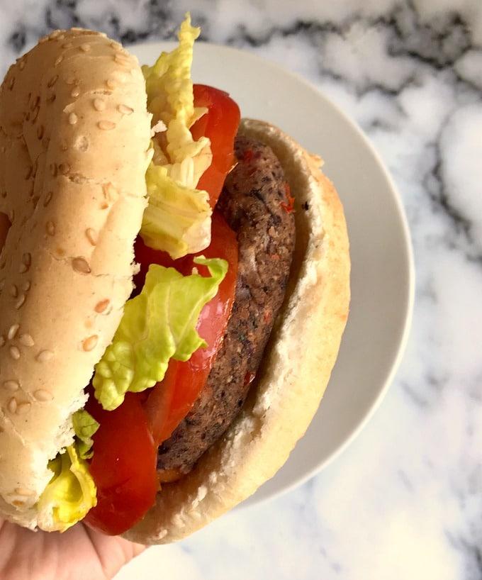 Side shot of a vegan black bean burger