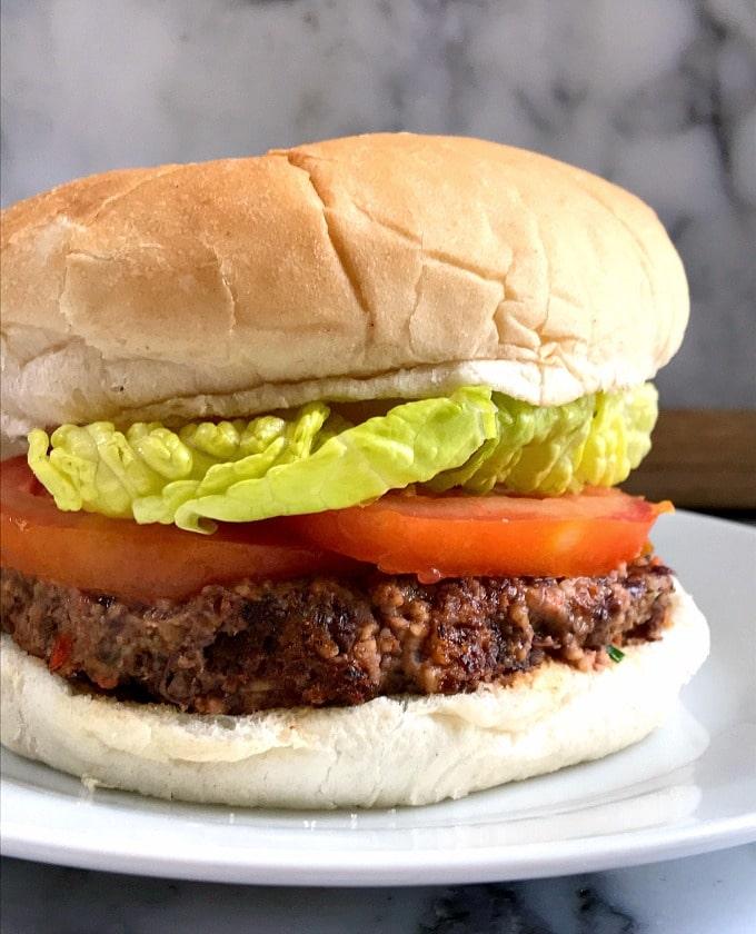 Vegan Black Bean Burger on a white plate