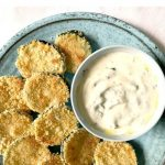 Baked Zucchini Chips with Yogurt Garlic Sauce, a delicious summer appetizer full of flavour. Healthy, refreshing, and so easy to make. A great choice for a picnic or healthy snack inbetween meals.