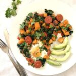 Overhead shoot of a white plate with sweet potato hash and avocado