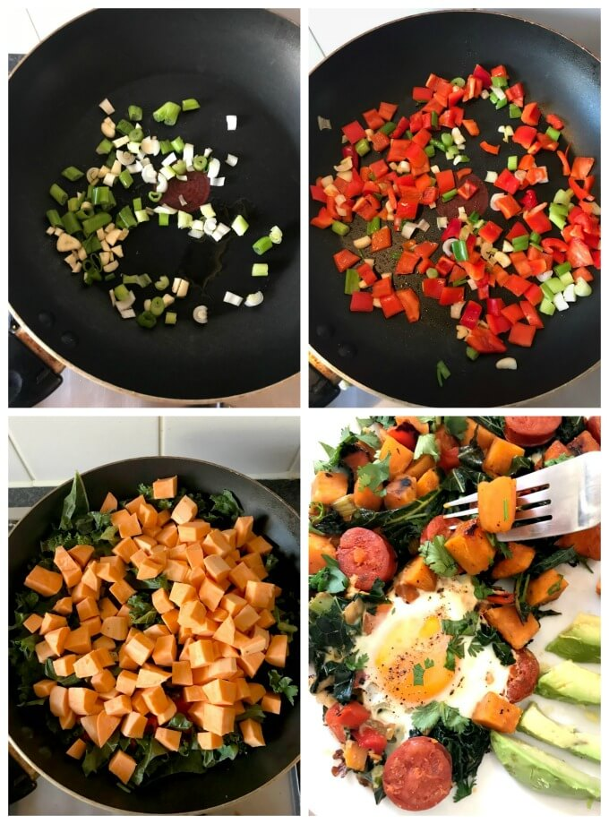 Collage of 4 photos to show how to make breakfast sweet potato hash