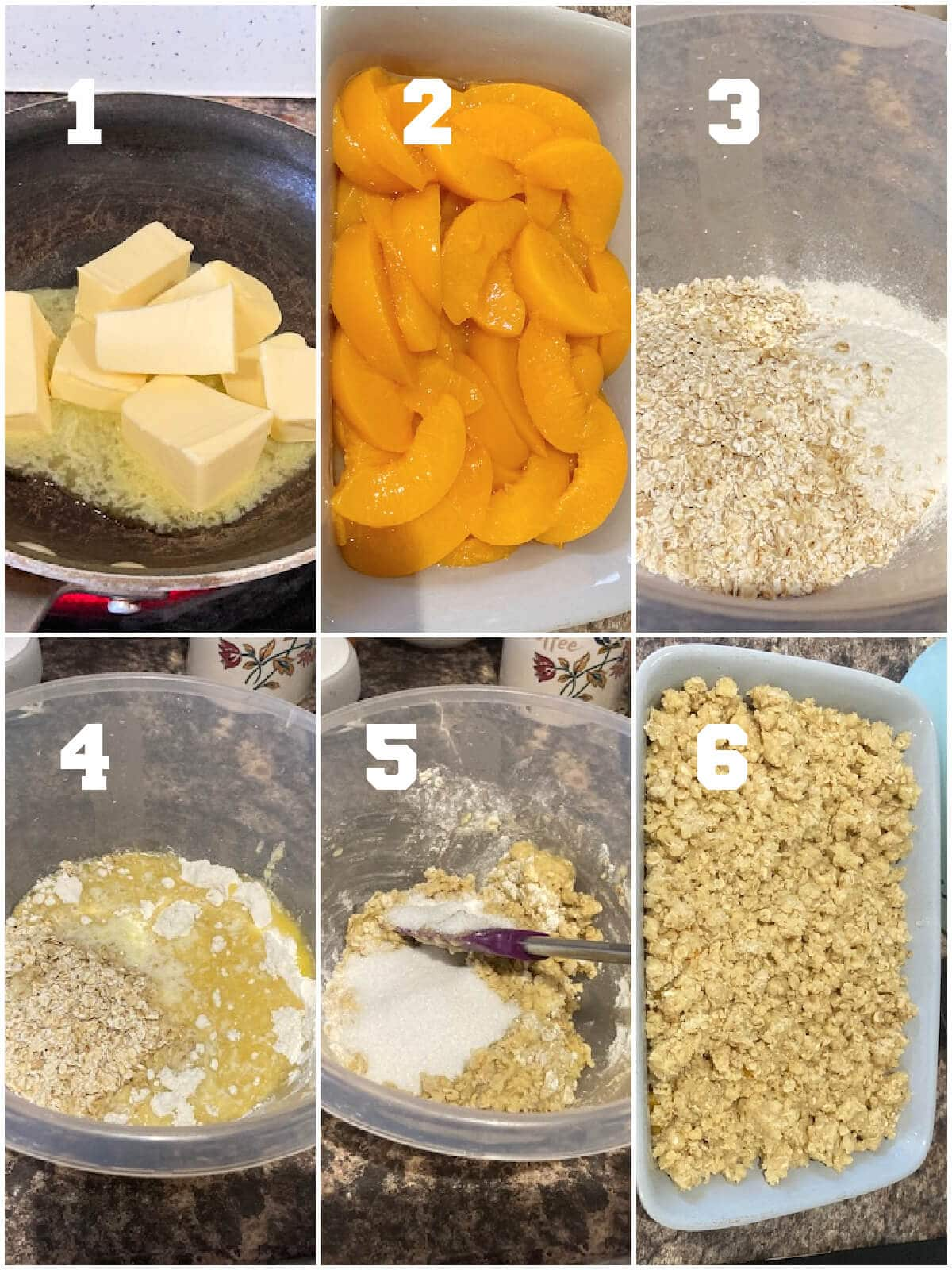 Collage of 6 photos to show how to make canned peach crumble