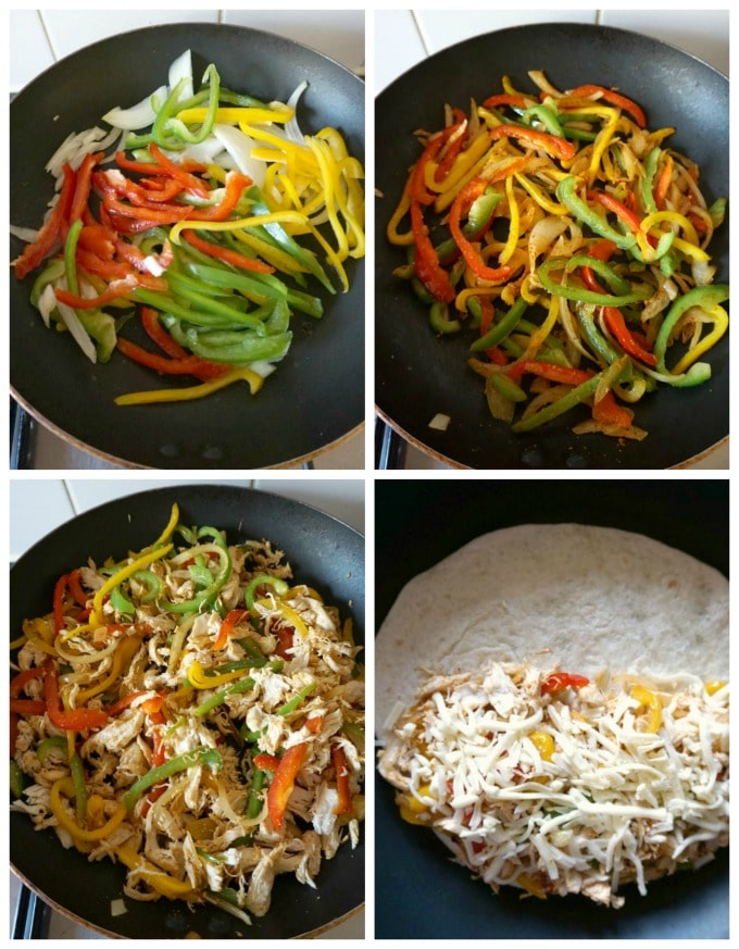 Collage of 4 photos to show how to make chicken fajita quesadillas