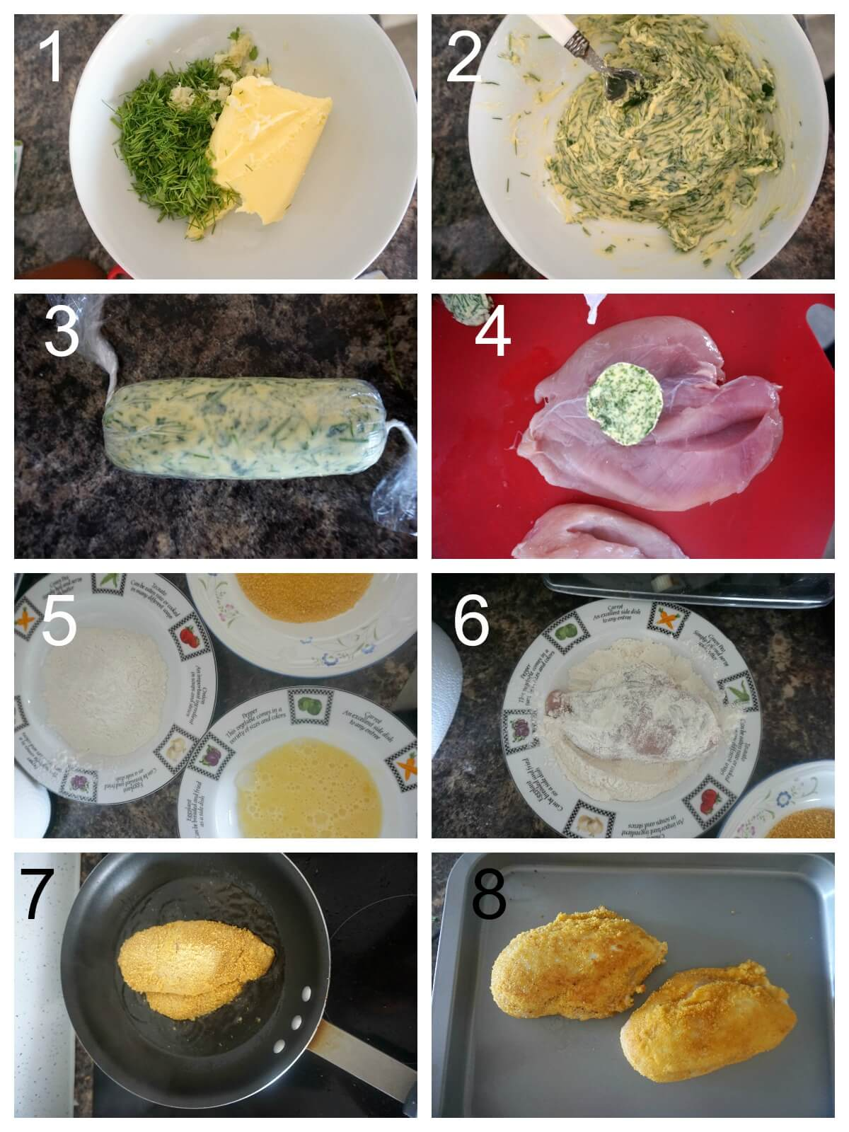 Collage of 8 photos to show how to make chicken kiev