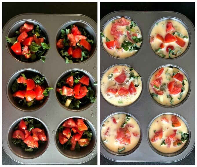 Collage of 2 photos to show how to make breakfast egg muffin cups