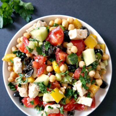 Healthy Mediterranean Chickpea Salad with Feta